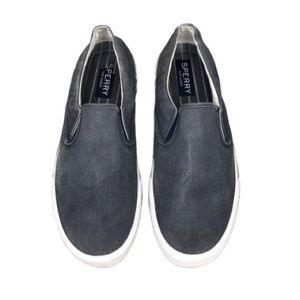 Sperry Top Siders Distressed Denim Slip On Size 11